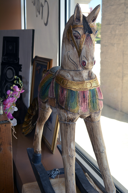 antique painted wood rocking horse