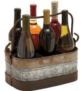 Farm House Decor - Galvanized Wine Carrier