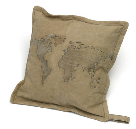 World Map on vintage tent canvas pillow