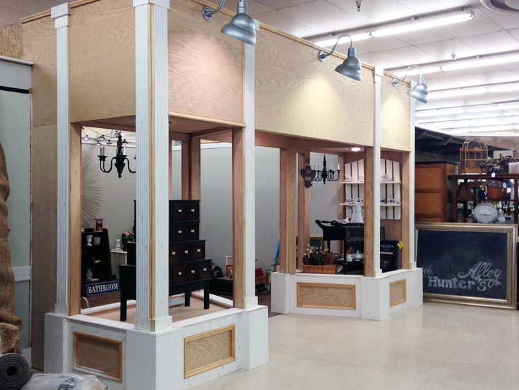 antique booth with trim and warehouse lights