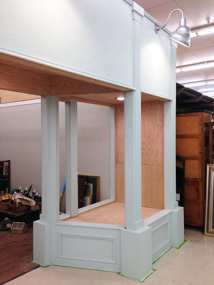 painted booth with trim